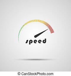 szybkościomierz, indicator., szybkość, icon., internet, logo...