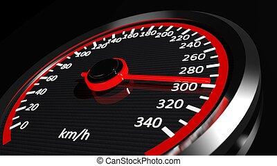 szybkościomierz, z, ruchomy, strzała