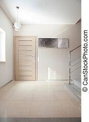 szykowny, biały, willa, korytarz
