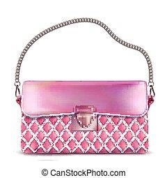 szykowny, damski, różowy, torebka damska, z, łańcuch, handle.