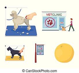 szykowny, dogs., odwiedzając, styl, symbol, szyld, komplet, pieszczoch, wektor, troska, rysunek, pień, salon, web., ikony, klinika, weteran, fryzura, ilustracja, zbiór, klinika, pies