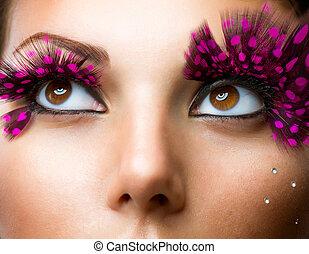 szykowny, fason, fałszywy, eyelashes., makijaż