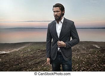 szykowny, fotografia, przystojny, człowiek, elegancki