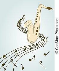 szykowny, ilustracja, saksofon