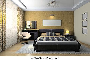 szykowny, prospekt, sypialnia