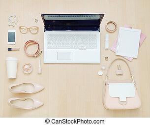 szykowny, przypadkowy, komplet, od, komputer, i, materiał,...