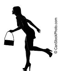 szykowny, sylwetka, kobieta bieg, dzierżawa, portmonetka