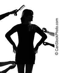 szykowny, sylwetka, kobieta, fason modelują