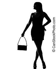 szykowny, sylwetka, kobieta, usługiwanie, dzierżawa, portmonetka
