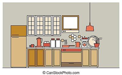 szykowny, wewnętrzny, od, nowoczesny, dostarczony, kuchnia, z, kredensy, elektronowy, przyrządy, cookware, przybory do gotowania, i, ułatwienia, dom, decorations., barwny, wektor, ilustracja, w, modny, linearny, style.