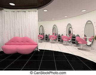 szykowny, widok, salon, piękno