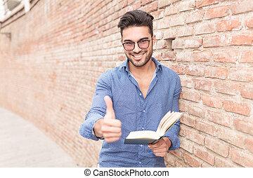 tá bom sinal, enquanto, livro, fazer, leitura, homem
