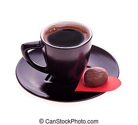 tábla csoki, -ban, szív, közül, dolgozat, és, kávécserje, fekete