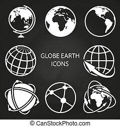 tábla, földgolyó, földdel feltölt, gyűjtés, ikonok
