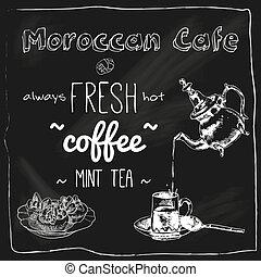 tábla, kávéház, teáskanna, marokkói, csésze