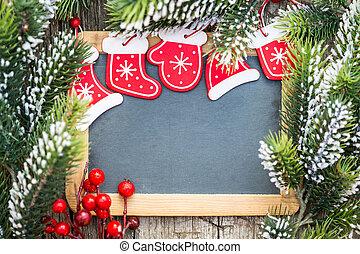 tábla, tiszta, keretezett, alatt, gyönyörű, karácsonyfa, elágazik, és, decorations., tél, ünnepek, concept., másol világűr, helyett, -e, szöveg