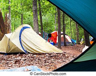 táborhely, át, sátor, ajtó