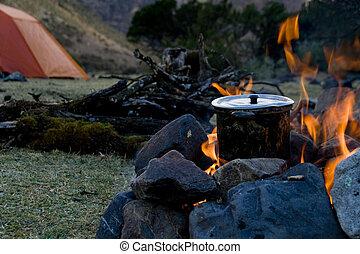 táborhely, főzés