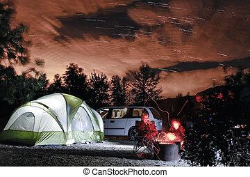 táborhely, kilátás, éjszaka
