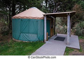 táborhely, yurt, képben látható, oregon part