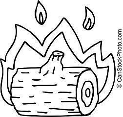 tábortűz, rajz, quirky, egyenes, karikatúra