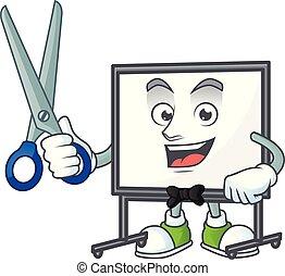 tábua, branca, equipamento, barbeiro, ensinando