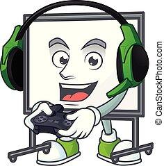 tábua, branca, equipamento, gaming, ensinando