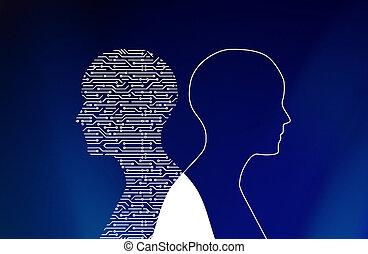tábua circuito, em, homem, forma, ligado, blue., alta tecnologia, tecnologia, experiência., 3d, ilustração