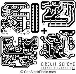 tábua, circuito, impresso