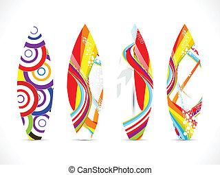tábua, coloridos, surfar, abstratos