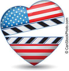 tábua, coração, bandeira eua, aplaudidor