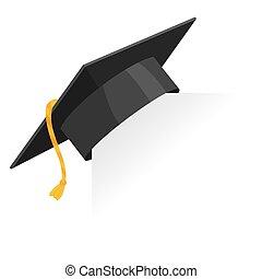tábua, graduação, educação, vetorial, papel, boné, elemento, corner., isolado, morteiro, ou, branca, experiência., desenho