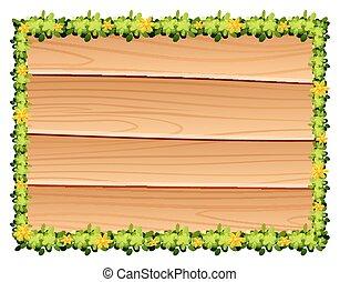 tábua madeira, com, flores, decoração