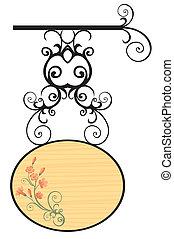 tábua madeira, com, flores