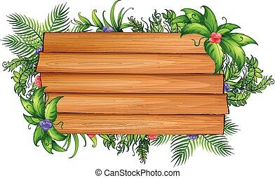 tábua madeira, com, verde sai, e, flores coloridas