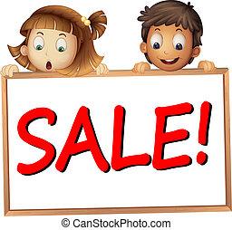 tábua, mostrando, crianças, venda