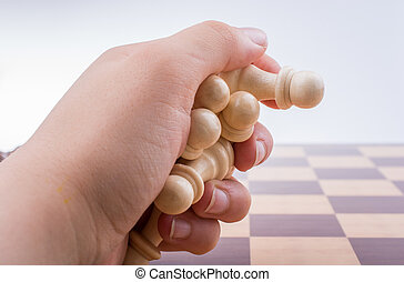 tábua, pedaços, xadrez, mão