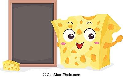 tábua queijo, ilustração, mascote
