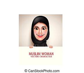 tábua, segurando, personagem, vetorial, em branco, branca, mulher, árabe, muçulmano