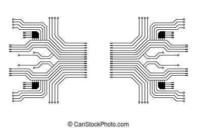 tábua, technology., circuito, ilustração, vetorial, fundo