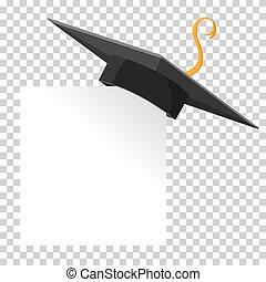 tábua, vetorial, papel, corner., boné, graduação, elemento, isolated., morteiro, desenho, ou, educação