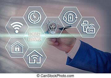 táctica, customer., mercadotecnia, significado, plomos, concepto, texto, buyer., escritura, converso, escritura, vuelta, estrategia