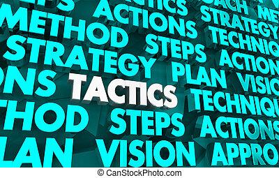 táctica, ilustración, estrategia, plan, palabras, visión, 3d