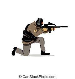 táctico, vector, disparando, illustration., caricatura