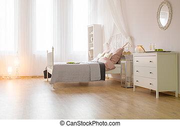 tágas, ágy, hálószoba