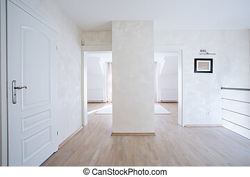 tágas, előszoba, noha, fehér, ajtók