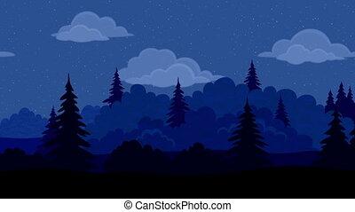 táj, éjszaka, erdő, seamless, bukfenc