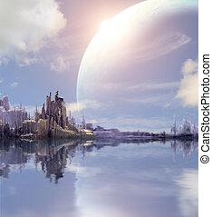 táj, alatt, képzelet, bolygó