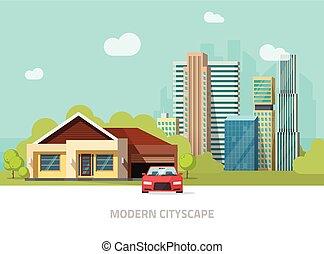 táj, felhőkarcoló, város, nagy, külvárosi, hívott, külváros, mögött, otthon, kilátás