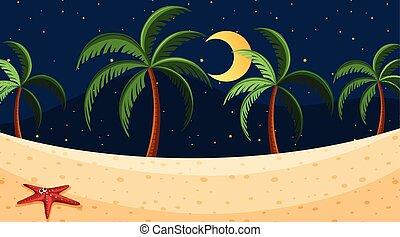 táj, háttér, tengerpart, éjszaka, tervezés
